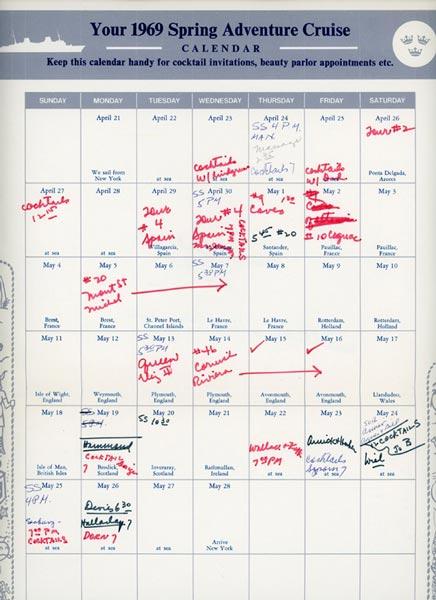 Calendar Spring Adventure Cruise 1969