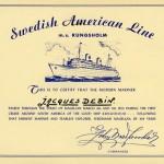 Certifikat Magellan sundet 1954