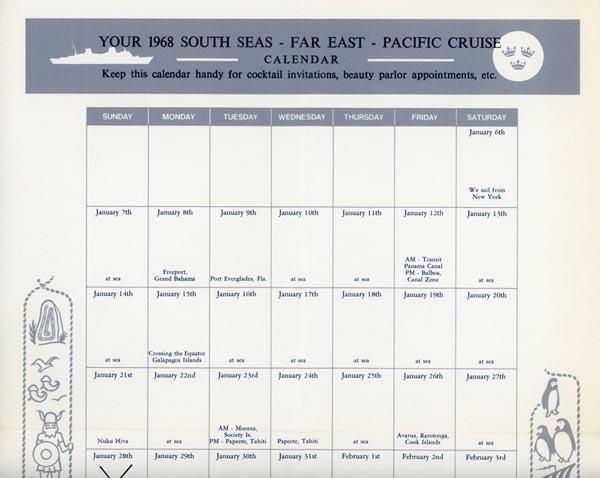 Cruise calendar 1968