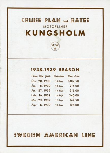 Cruise plan and rates Kungsholm 1938-1939