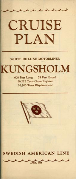Cruise plan Kungsholm 1935