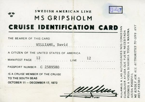 Identification card 1973