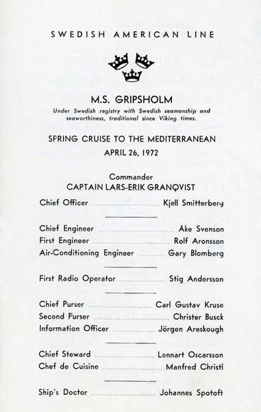 Passagerarlista Kryssning 720426 Mediterranean