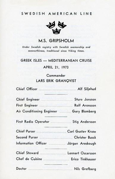 Passagerarlista Kryssning 730421 Greek Isles Mediterranean