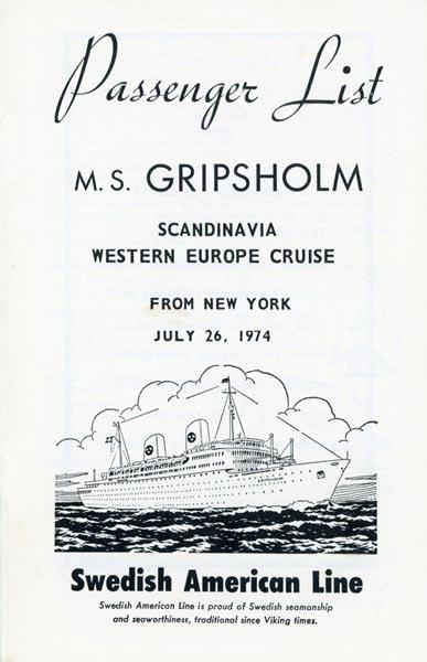 Passagerarlista Kryssning 740726 Scandinavia Western Europe