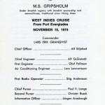 Passagerarlista Kryssning 741115 West Indies