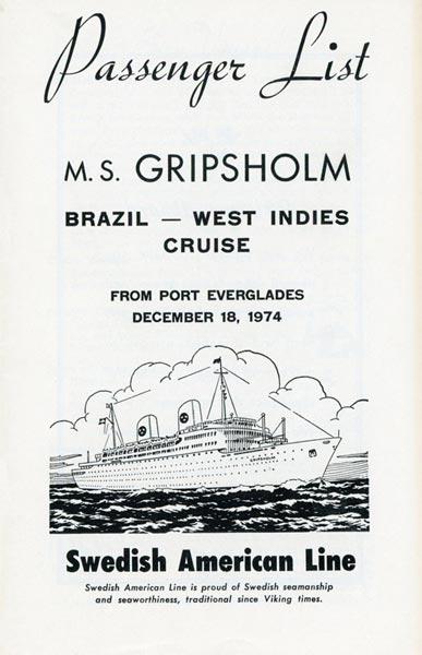 Passagerarlista Kryssning 741218 Brazil West Indies