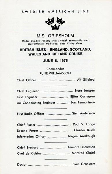 Passagerarlista Kryssning 750606 British Isles