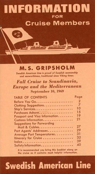 Brochure Information for cruise members 1969