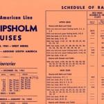 Schedule of rates cruises 1961-1962