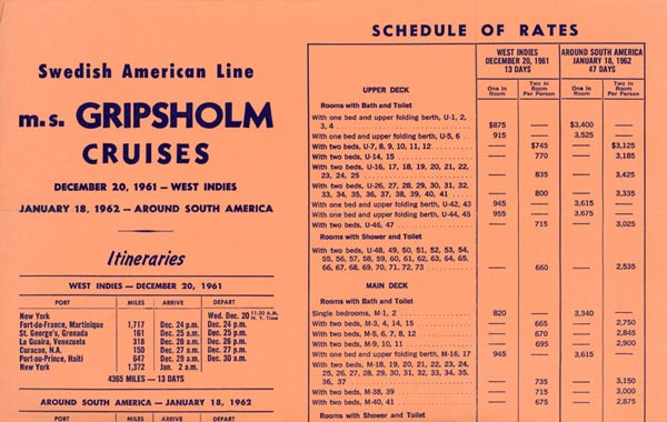 Schedule of rates cruises 1961-1962