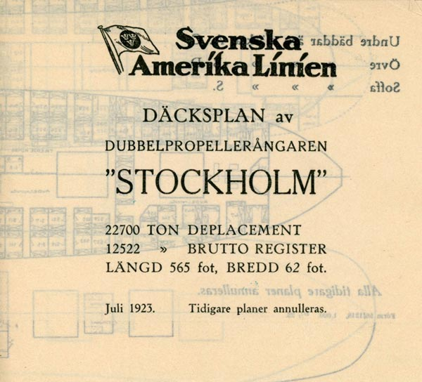 Deck plan Stockholm 1923
