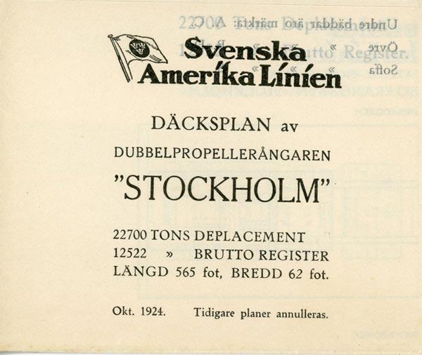 Deck plan Stockholm 1924