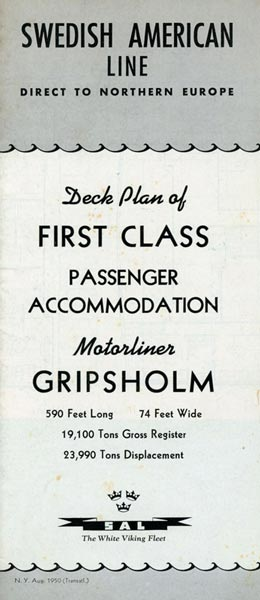 Deck plan First class Gripsholm 1950