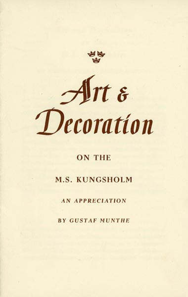 Brochure Art & Decoration of the Kungsholm (no year)