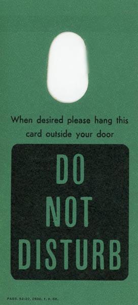 Door tag Do not disturb
