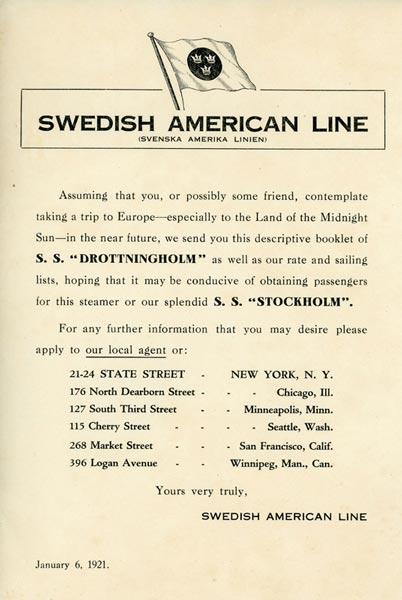 Information brochure Drottningholm 1921