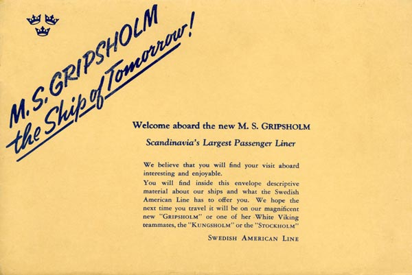 Envelope Welcome aboard the new Gripsholm 1956
