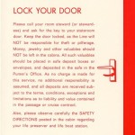 Passenger information Lock your Door