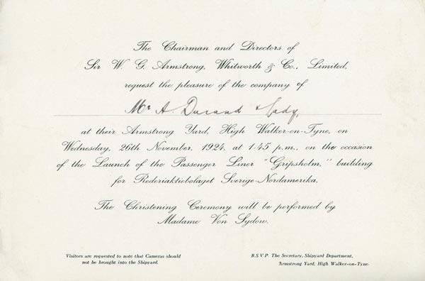 Launching Gripsholm 241126 Invitation yard