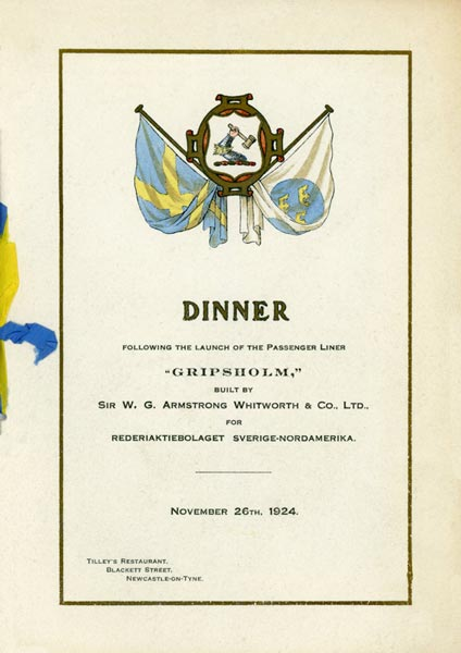 Launching Gripsholm 241126 dinner menu