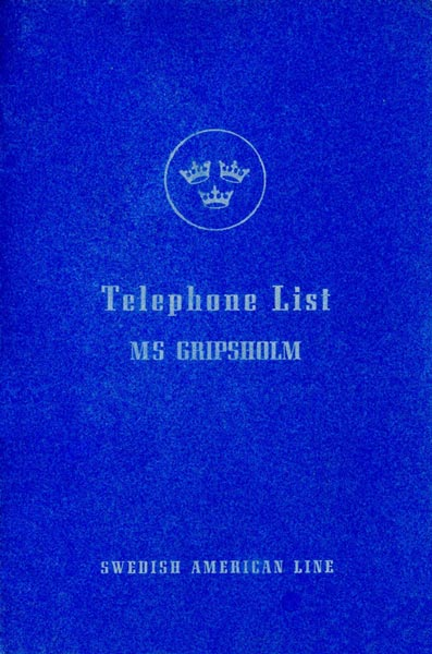 Telephone List Gripsholm 1957