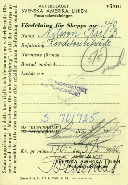 Distribution Card 1955
