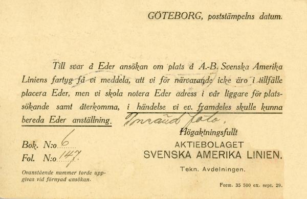 Answer employment application 1929