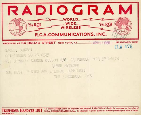 Telegram 1930