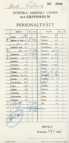 Receipt staff laundry 1944