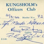 Kungsholm's Officers Club members card