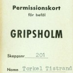 Permision card for officers Gripsholm