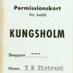 Permision card for officers Kungsholm