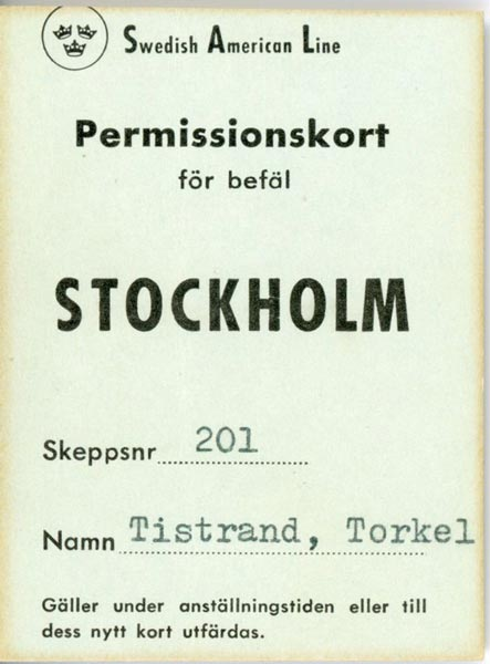 Permision card for officers Stockholm