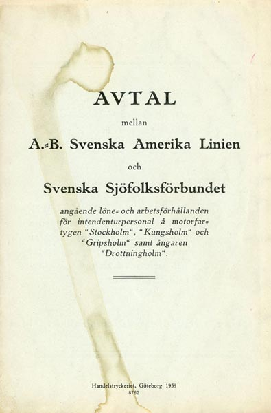 Personnel Agreement with the Swedish Seafarers' Union 1939