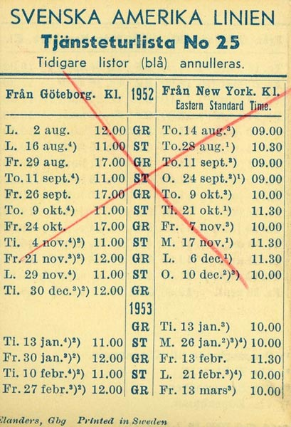 Timetable no25 1952