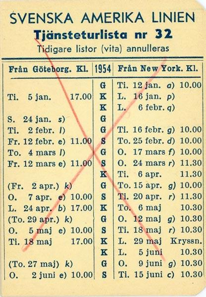 Timetable no32 1954