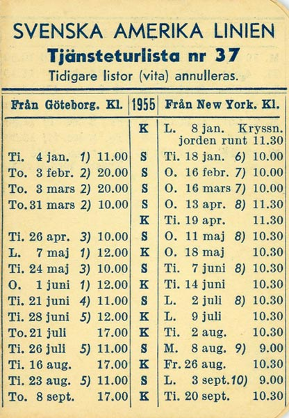 Timetable no37 1955