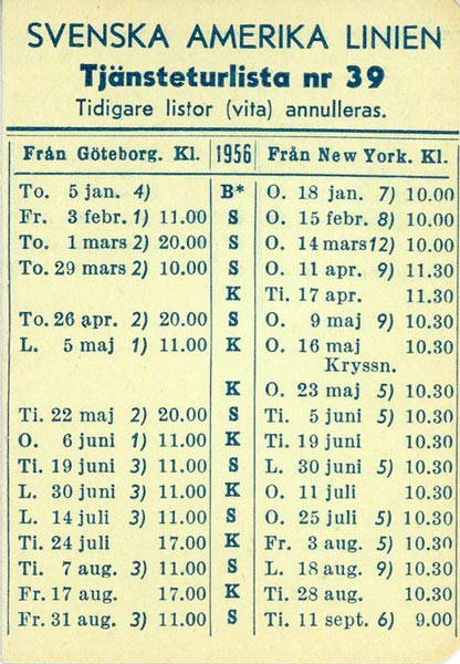 Timetable no39 1956