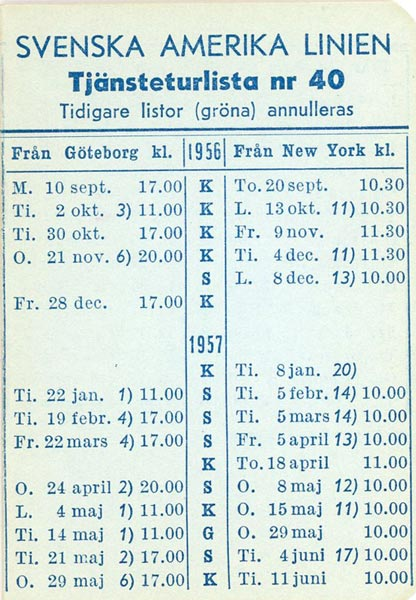 Timetable no40 1956