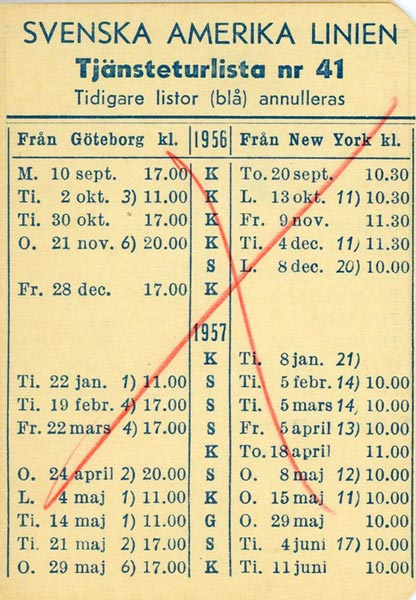 Timetable no41 1956