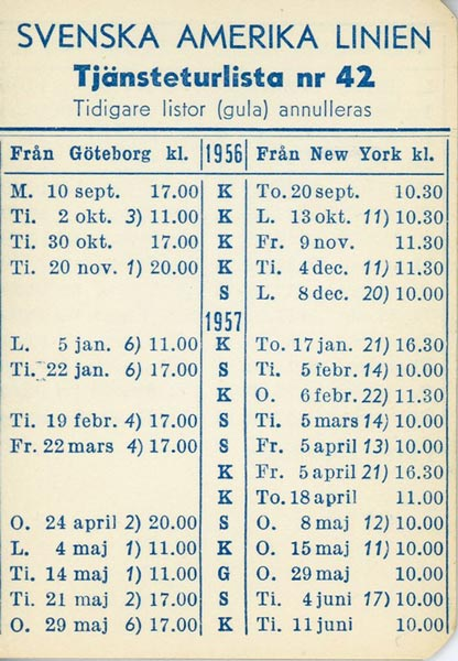 Timetable no42 1956