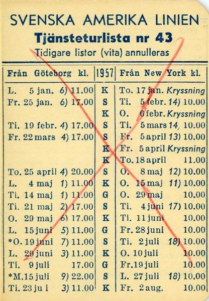 Timetable no43 1957