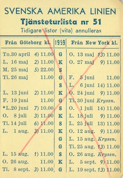 Timetable no51 1959