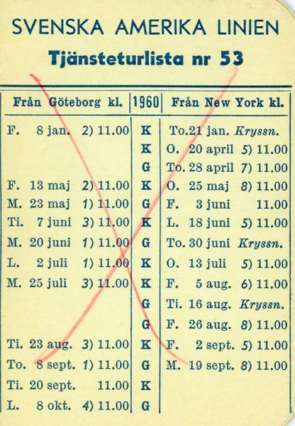 Timetable no53 1960