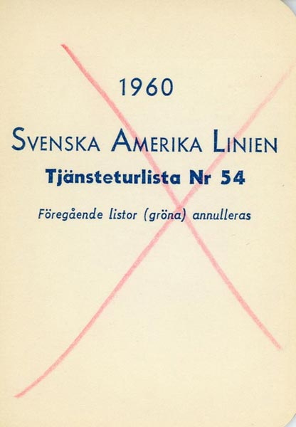 Timetable no54 1960