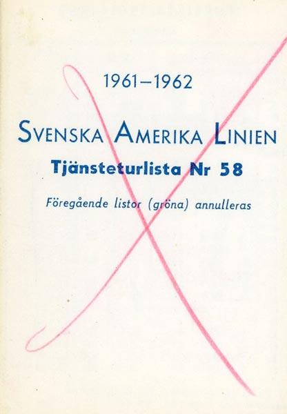 Timetable no58 1961