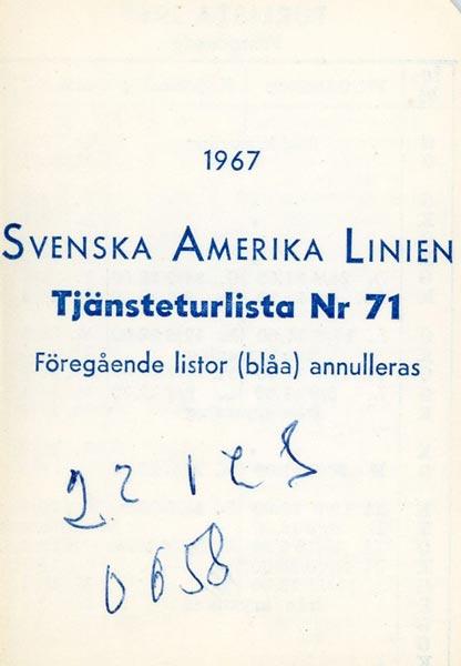 Timetable no71 1967
