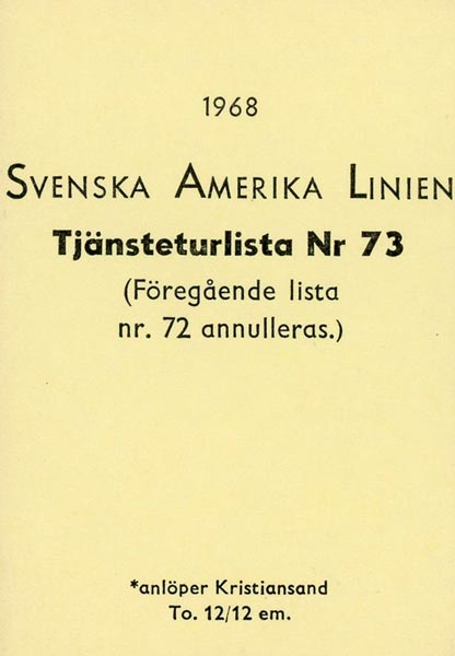 Timetable no73 1968