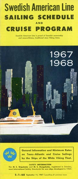 Brochure Sailing schedule and cruise program 1967-1968